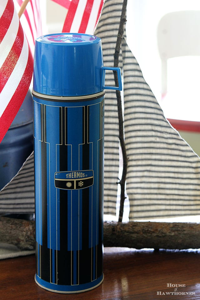 Vintage blue Thermos along with other vintage yard sale finds at houseofhawthornes.com