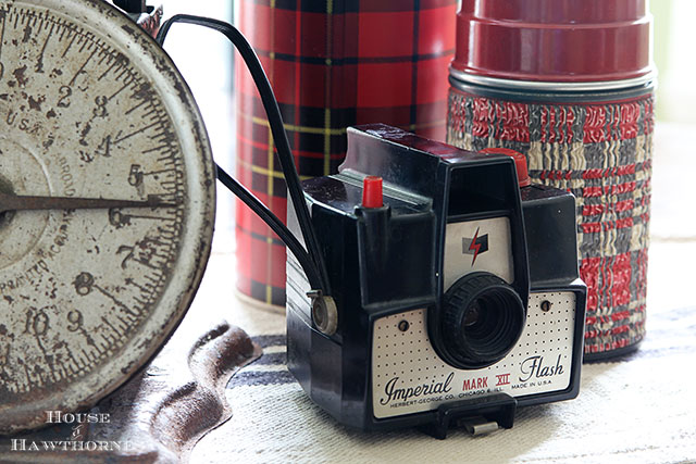 Vintage Imperial Mark XII camera is part of a fall apple vignette for the kitchen table via houseofhawthornes.com