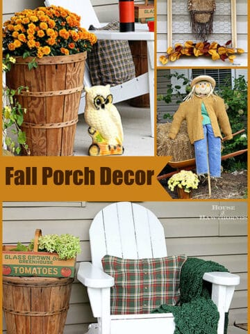 Farmhouse fall porch decor with an eclectic vintage touch. Most items were either thrift store finds or are quick and easy fall DIY projects.