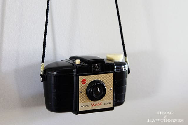 Vintage Kodak Brownie Starlet camera in an eclectic vintage entryway via houseofhawthornes.com