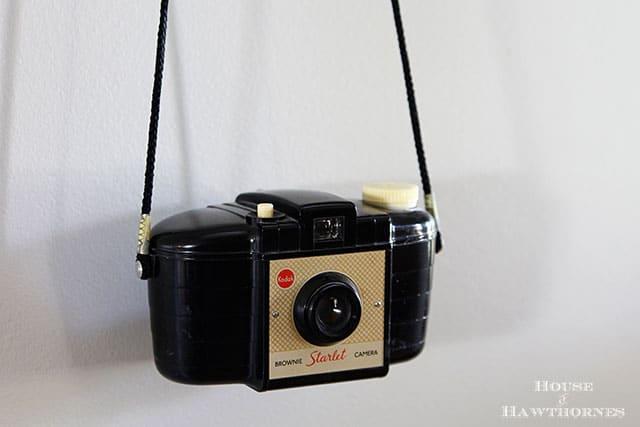 Vintage Kodak Brownie Starlet camera in an eclectic vintage entryway via houseofhawthornes.com