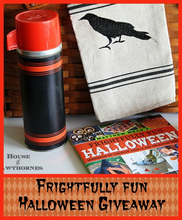 Vintage Thermos, tea towel and Mathew Mead's Frightfully Fun Halloween - part of a Halloween Giveaway at houseofhawthornes.com