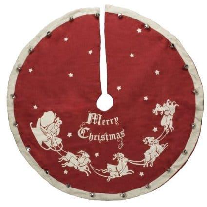 Retro Christmas Tree Skirt with a Santa and sleigh
