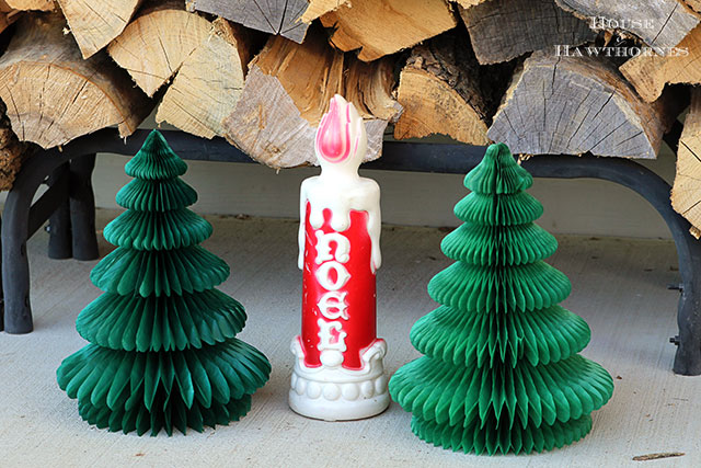Noel candle blow mold and vintage honeycomb tissue paper Christmas trees