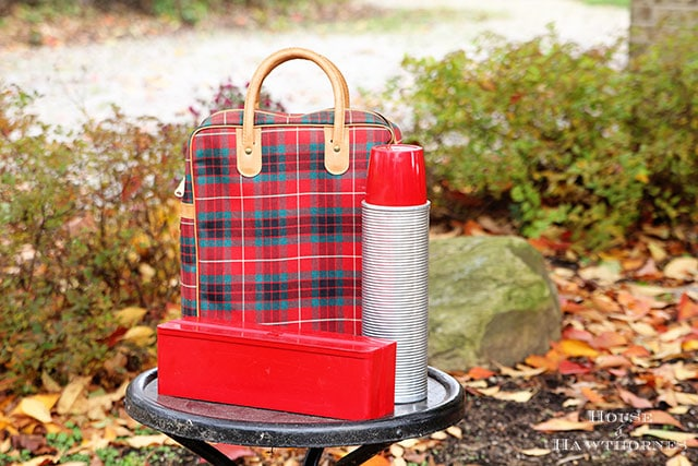 Vintage red plaid Thermos brand stadium or picnic set - comes with a thermos and sandwich box