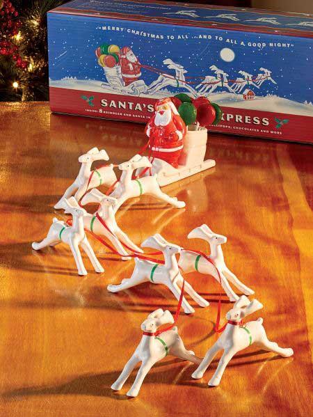Reproduction retro plastic Santa and sleigh
