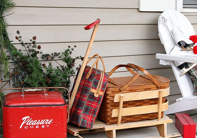 Holiday Front Porch For The Picnicing Ski Bums
