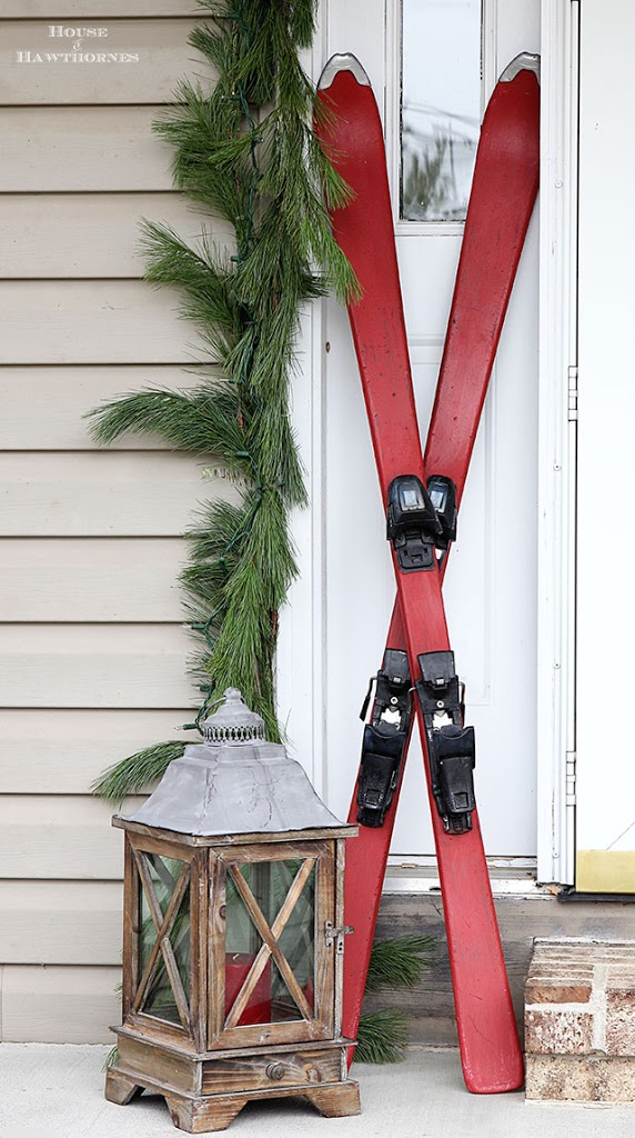 Skis on Christmas porch