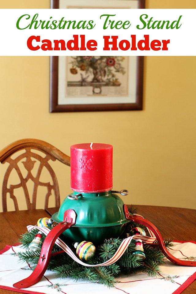 Super cute holiday candle holder repurposed from a Christmas tree stand. What a great DIY upcycle project for the holidays!