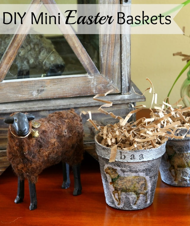 Make cute little DIY mini Easter baskets using peat pots. Super easy and quick to make.