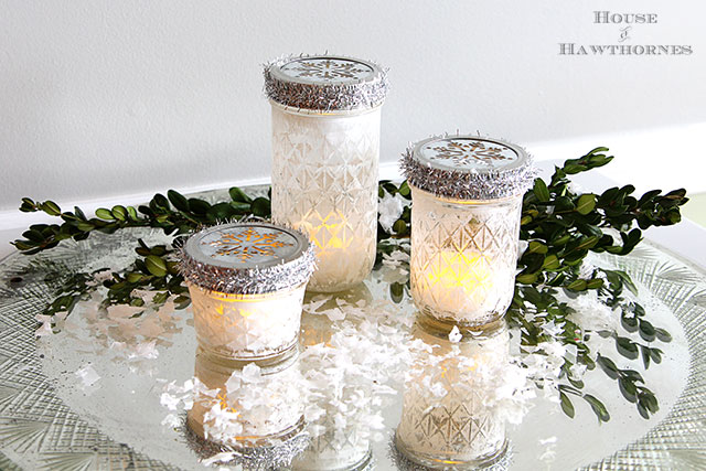How to make mason jar Christmas luminarias