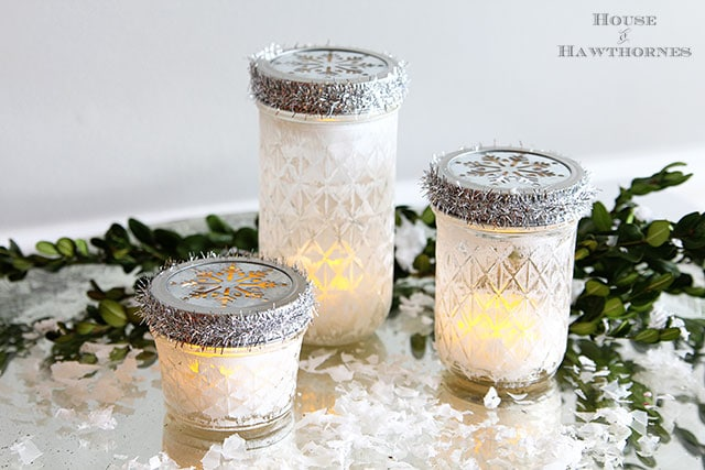 Mason jar Christmas luminarias tutorial