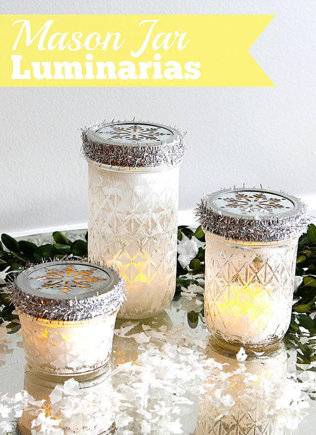 These mason jar luminarias are a super easy five-minute craft for the holidays.   They'd make cute DIY hostess or teacher gifts.