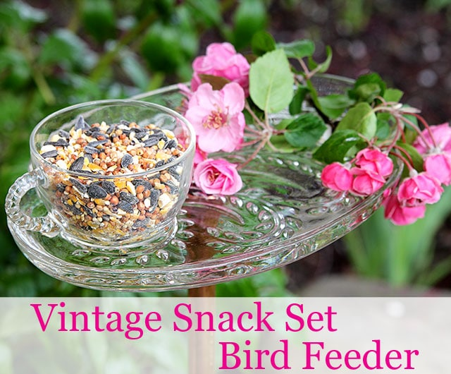 A vintage snack set can easily be repurposed into a CUTE bird feeder in a few simple steps. And I see these snack sets at the thrift store ALL THE TIME!