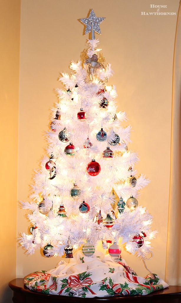 a white christmas tree with vintage shiny brite ornaments creates a modern retro holiday look that - Christmas Tree Decorated With Vintage Ornaments