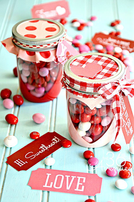 Free Valentine Printable And Heart Candy Mason Jars