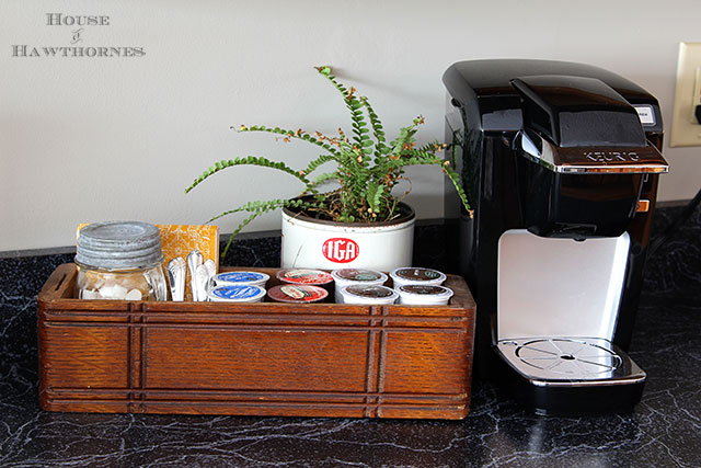 DIY Keurig K Cup storage using vintage home decor and thrift store finds.