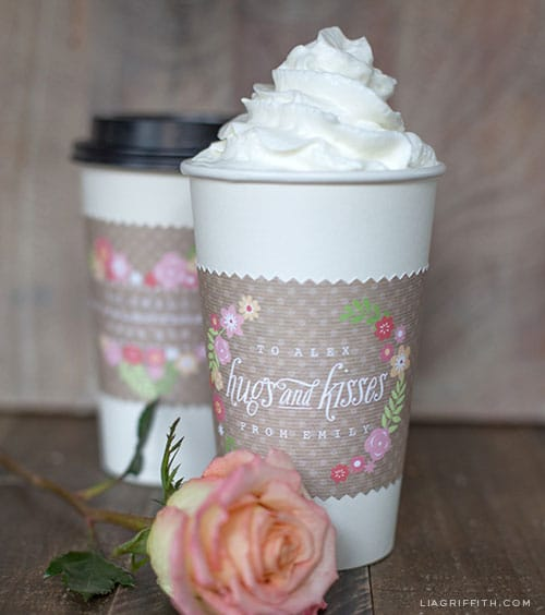 Free Printable Valentine Coffee Cup Sleeves