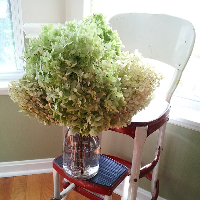 Vintage Cosco Step Stool Chair With Hydrangeas On It