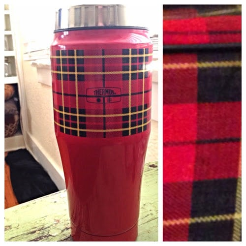 Plaid Thermos travel cup from cherrypickedfinds.blogspot.com