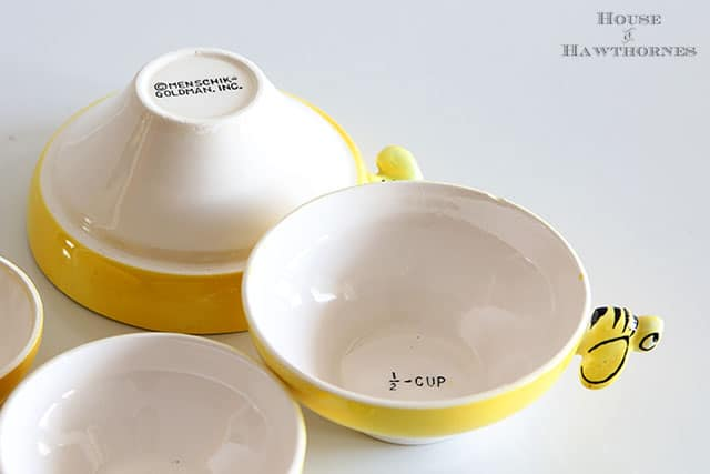 Vintage beehive nesting measuring cups with colored bees - from Menschik Goldman Inc