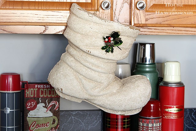 Vintage white paper mache hanging Christmas boot with glitter on it