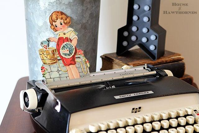 Vintage valentine on a vintage Smith Corona Galaxie typewriter