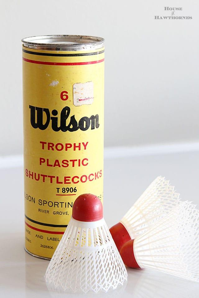Vintage Wilson plastic shuttlecocks found at an estate sale