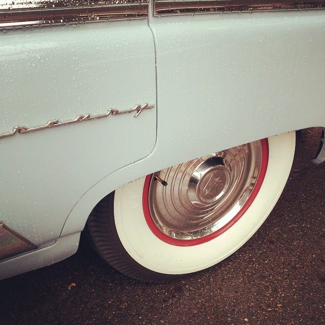 Whitewall tires on a vintage car