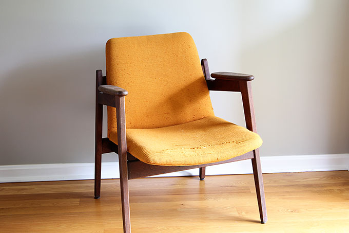 A fun and stylish Mid Century Modern chair restoration including reupholstering and wood refinishing. A DIY project that can be accomplished in a weekend.
