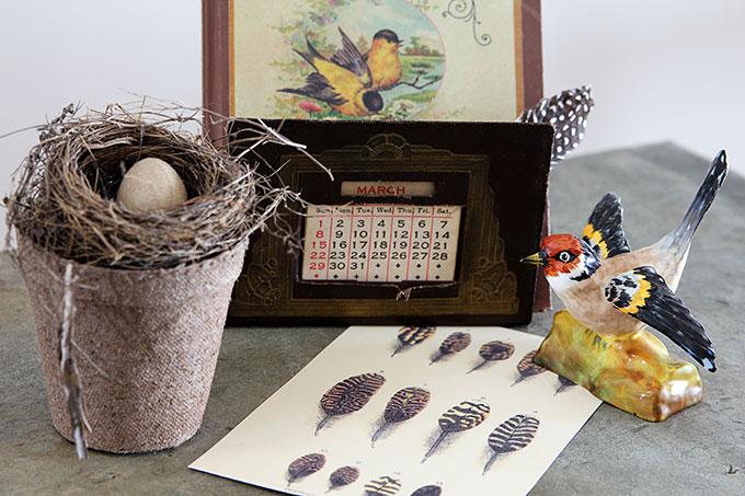 Vintage bird nest home decor for your spring vignettes