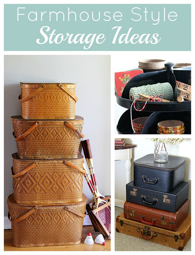 Farmhouse storage ideas to give you the farmhouse look and organize your life at the same time. Vintage suitcases, picnic baskets, toolboxes and more. #farmhousedecor ##organizationideas #organizing #organizationtips #organizationhacks #vintagestyle