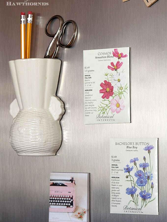 DIY seed packet refrigerator magnets for your spring and summer decor. A super quick and easy five minute craft project and would make cute wedding favors.