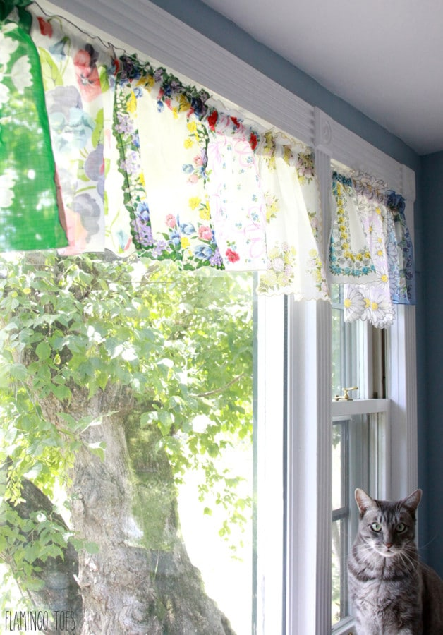 Vintage handkerchief window curtains