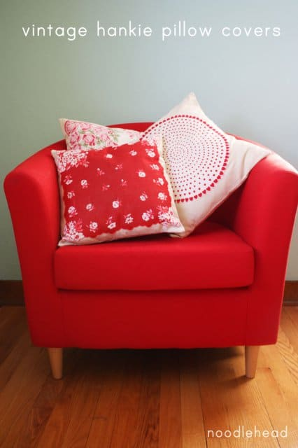 Pillow covers made from vintage handkerchiefs