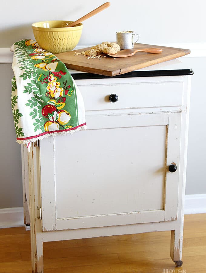 Antique farmhouse enamel topped kitchen cabinet