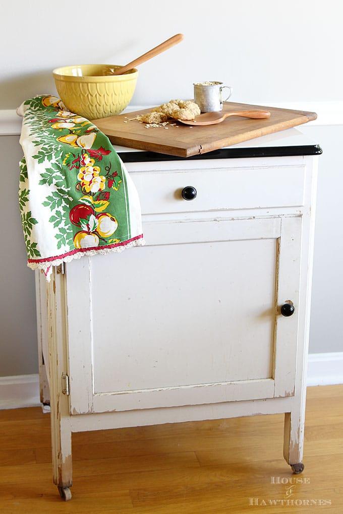 Antique farmhouse enamel topped kitchen cabinet