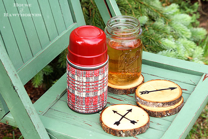 Super easy DIY Arrow Coasters made from craft store wood slices.
