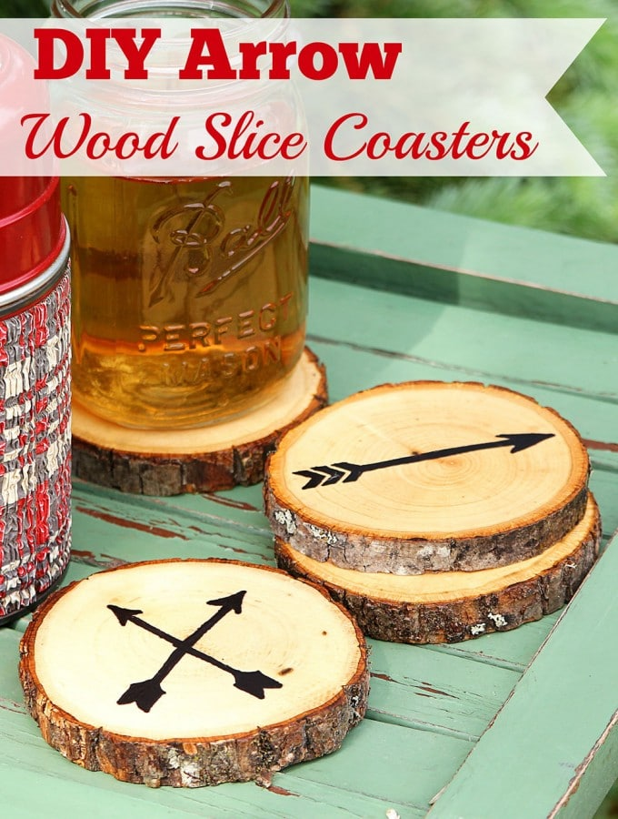 Super easy DIY Wood Slice Coasters made from craft store wood slices. No fancy wood burning tools required. Includes free printable templates for the arrows and instructions on How To Seal Wood Coasters!
