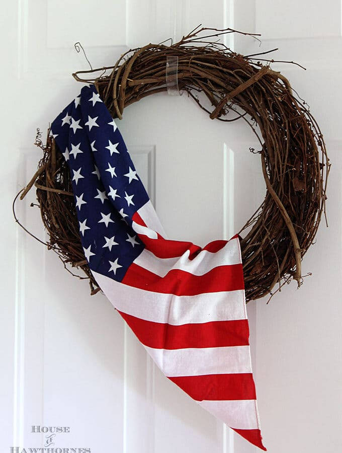 This flag wreath is one of the easiest DIY 4th of July decor ideas. A perfect solution for when you want to use a flag but don't want to use the real thing.