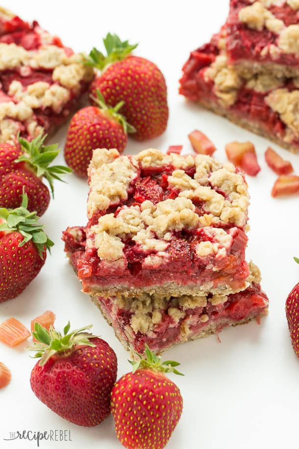 Strawberry rhubarb oatmeal crisp bars