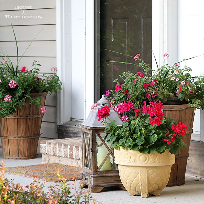 Summer Porch Decorating Ideas And Inspiration Using Farmhouse Touches,  Vintage Items, Plenty Of Annual