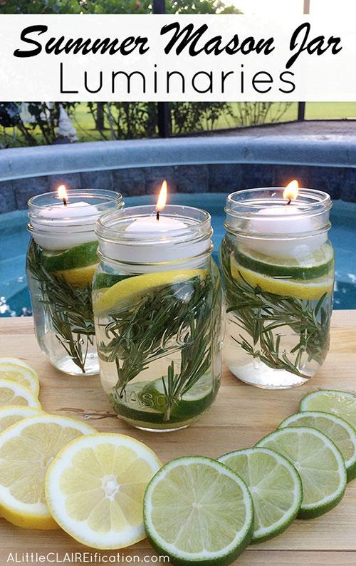 DIY bug repellent mason jar candles