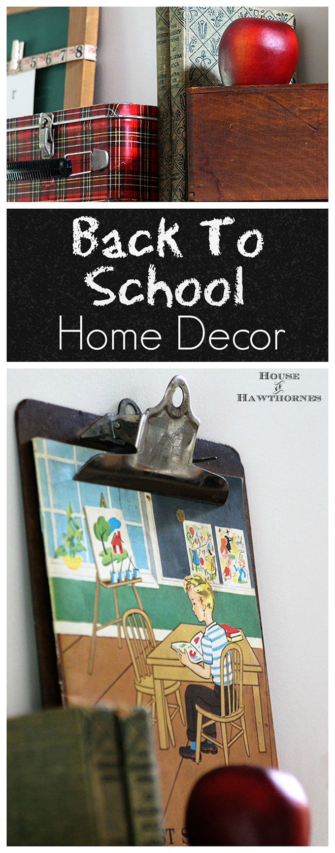 A back to school theme is the perfect way to bridge the gap between summer and fall home decor. When it seems like it is just too soon for pumpkins or owls!