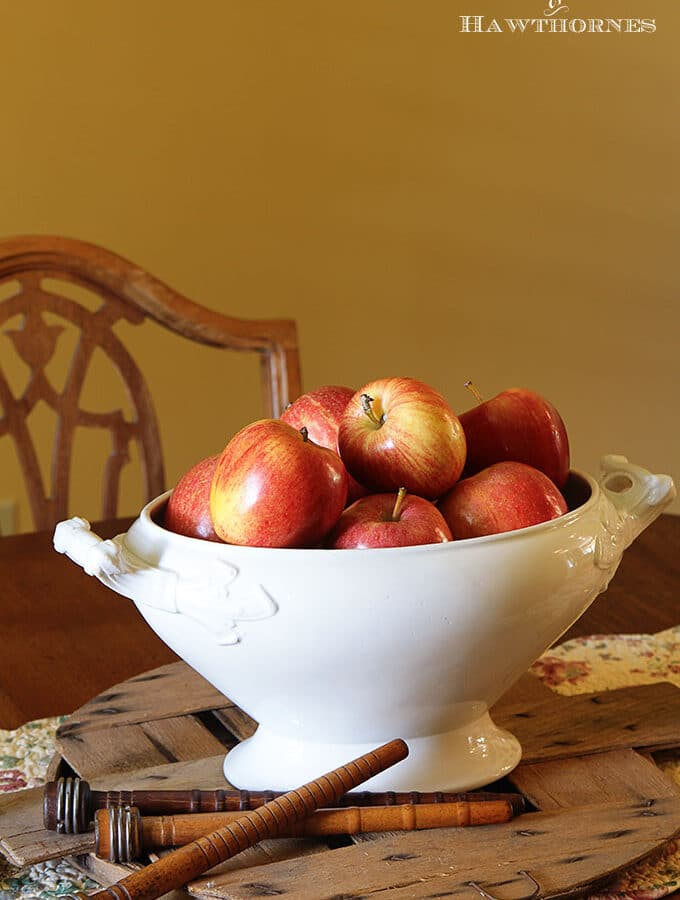 Using apples to create an inexpensive fall centerpiece in addition to other cheap, quick and easy DIY fall home decor ideas.