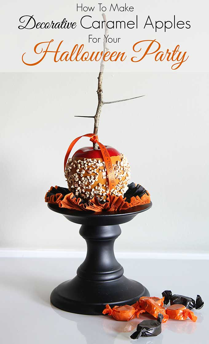 Quick and easy instructions for making faux caramel apples. A great addition to your DIY fall decor (how cute would these look sitting on a plate in your kitchen) and great for Halloween party decorations too! #halloween #halloweenparty #halloweendecorations #fall #falldecor