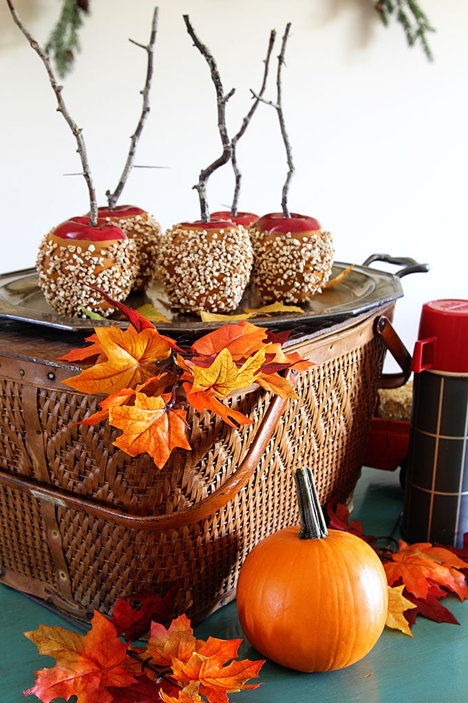 candied apples and a vintage picnic basket