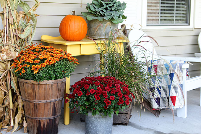 Mums And Pumpkins For Traditional Fall Porch Decorating
