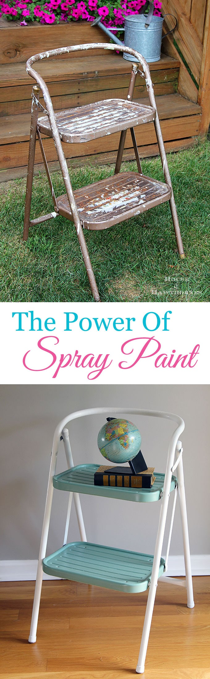 A yard sale makeover using spray paint to update a vintage step stool into a work of art.  OK, that may be going a bit far, but it is a cute DIY project.