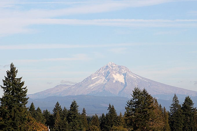 View of Mount Hood from Portland Oregon